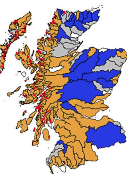 The above map shows that the extent of west Highland rivers where wild salmon populations are in very poor health (denoted in beige) closely matches the extent of the salmon farming industry (the current active industrial salmon farming sites are marked in red), which has long been held to be a primary factor in the decline of wild salmon numbers in western Scotland. Picture: Scottish Government.